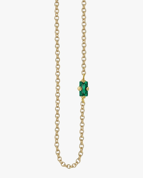 Lizzie Mandler Baguette Emerald Floating Necklace 0