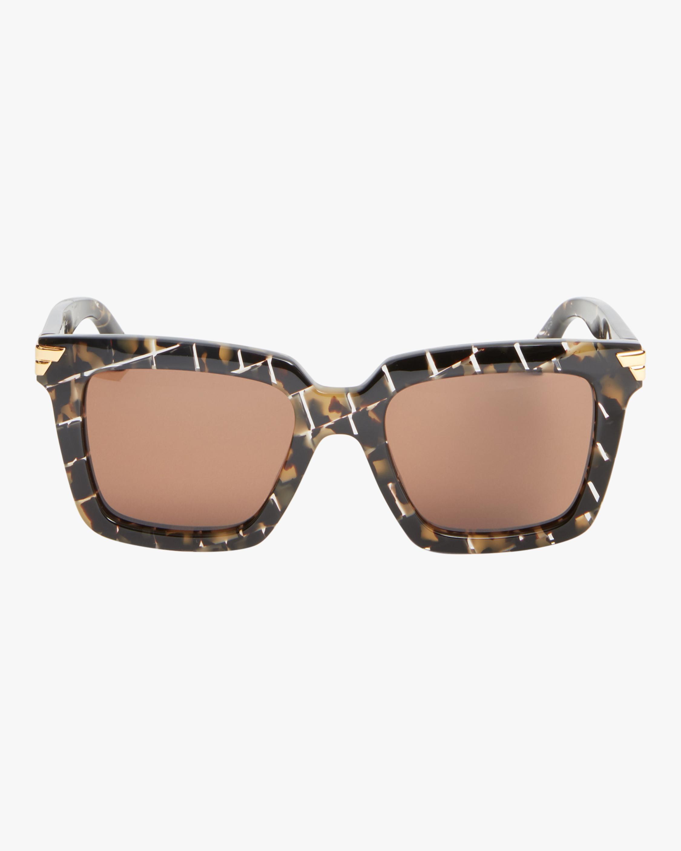 Bottega Veneta Intreccio Rectangle Sunglasses 0