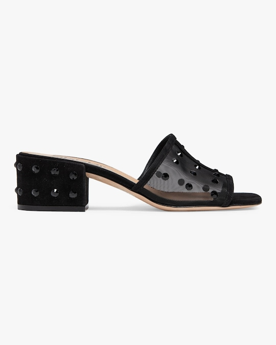 Sergio Rossi Embellished Sheer Slide 0