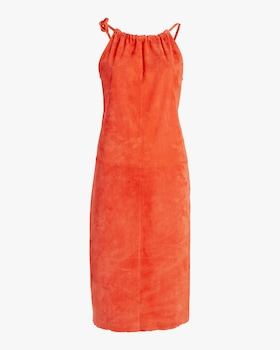 Edna Ruched-Neckline Midi Dress