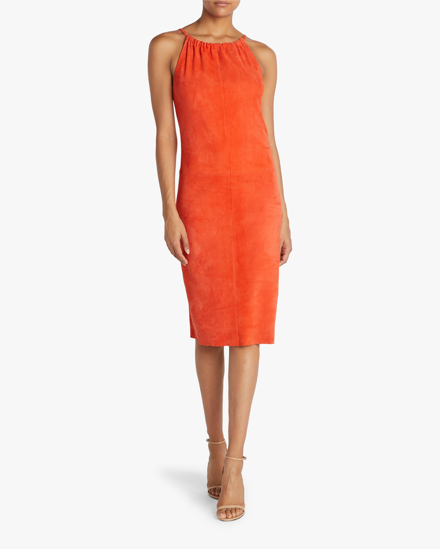 Edna Ruched-Neckline Midi Dress
