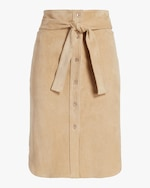 Stouls Tie-Front Suede Skirt 0
