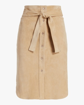 Stouls Tie-Front Suede Skirt 1