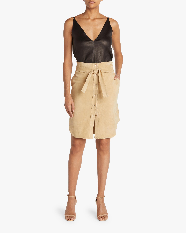 Tie-Front Suede Skirt
