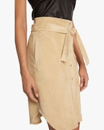 Stouls Tie-Front Suede Skirt 3