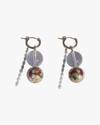 Quartz & Pearl Hoop Drop Earrings