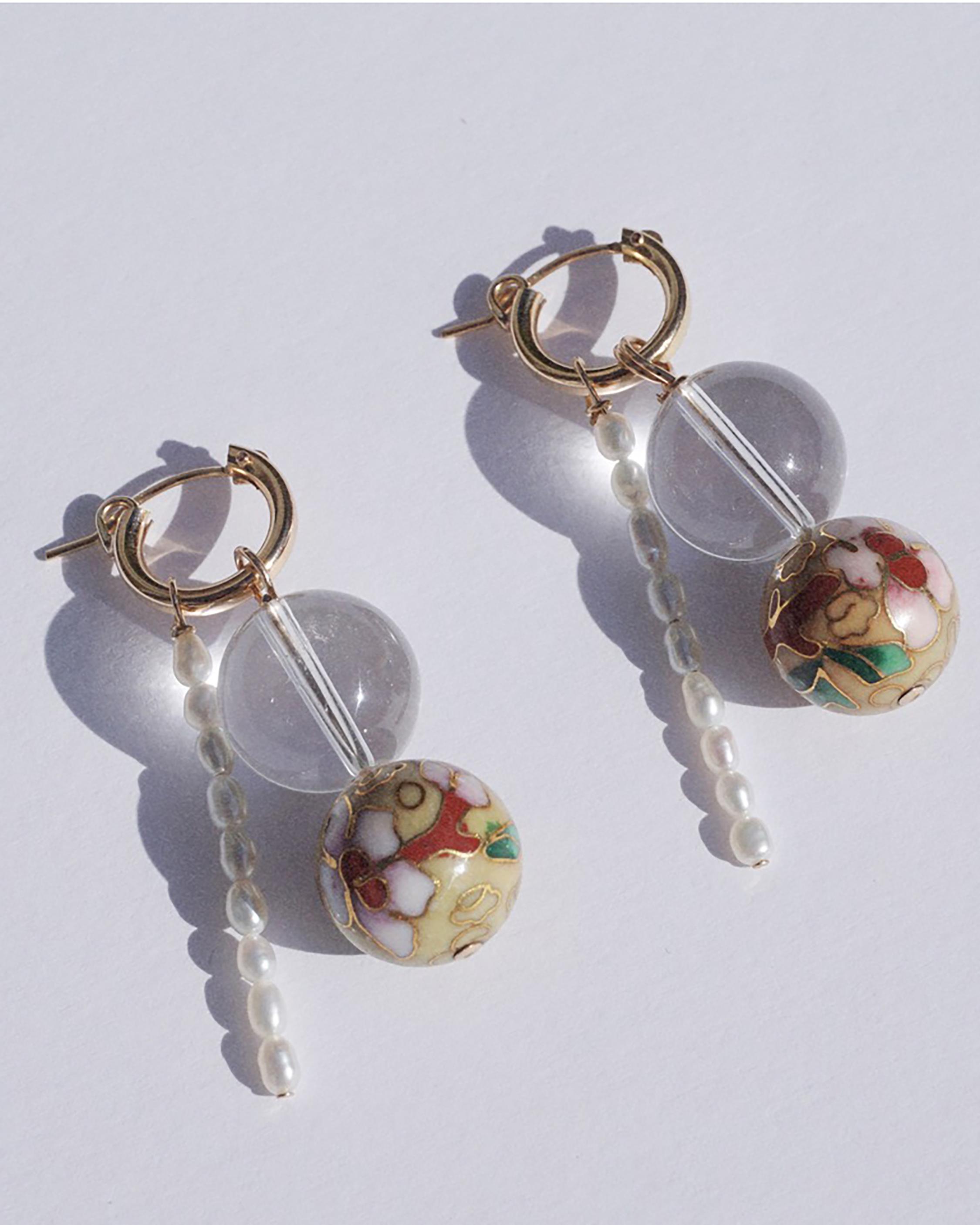 NST Studio Quartz & Pearl Hoop Drop Earrings 1