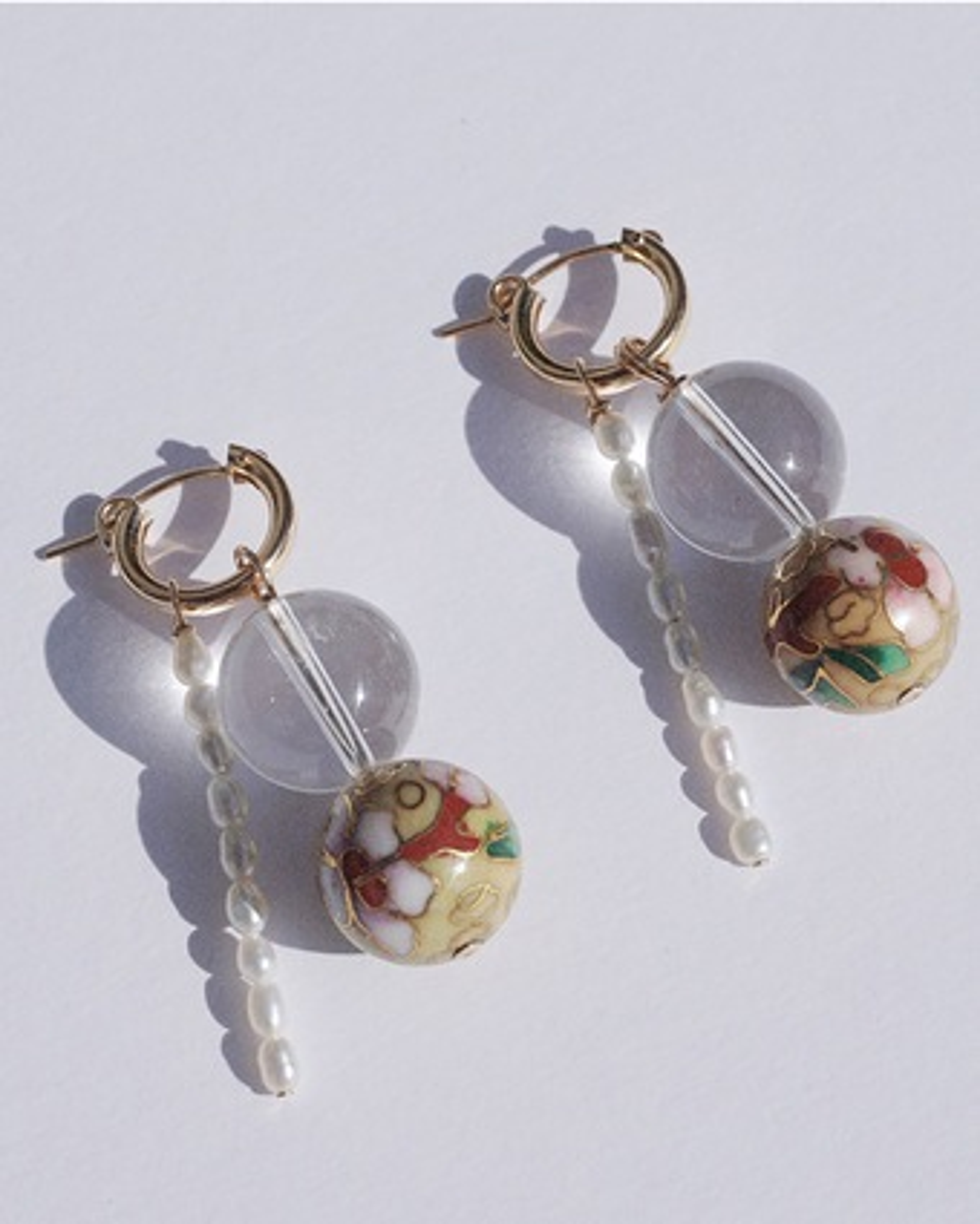Quartz & Pearl Hoop Drop Earrings