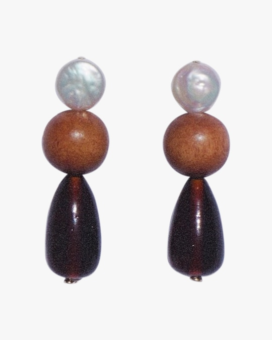 NST Studio Wood & Pearl Drop Earrings 0