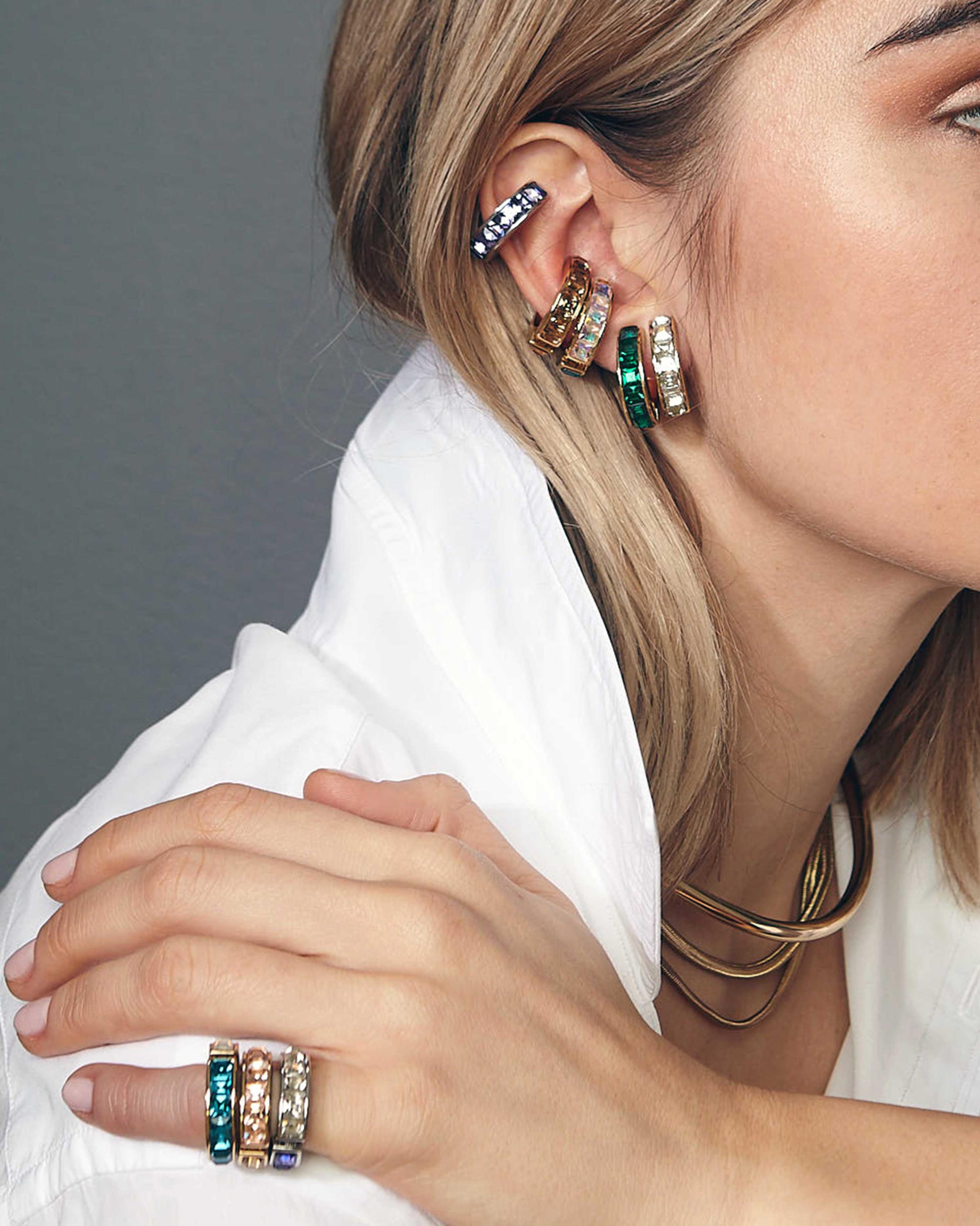 Eden Bi-Color Crystal Ear Cuffs