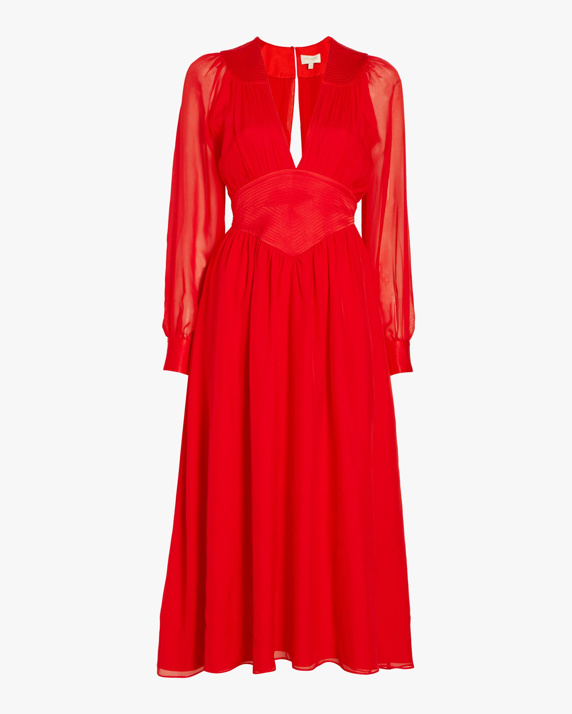 Divine Heritage V-Neck Pleated Midi Dress 0