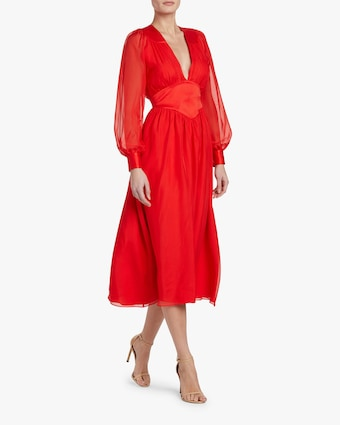 Divine Heritage V-Neck Pleated Midi Dress 2