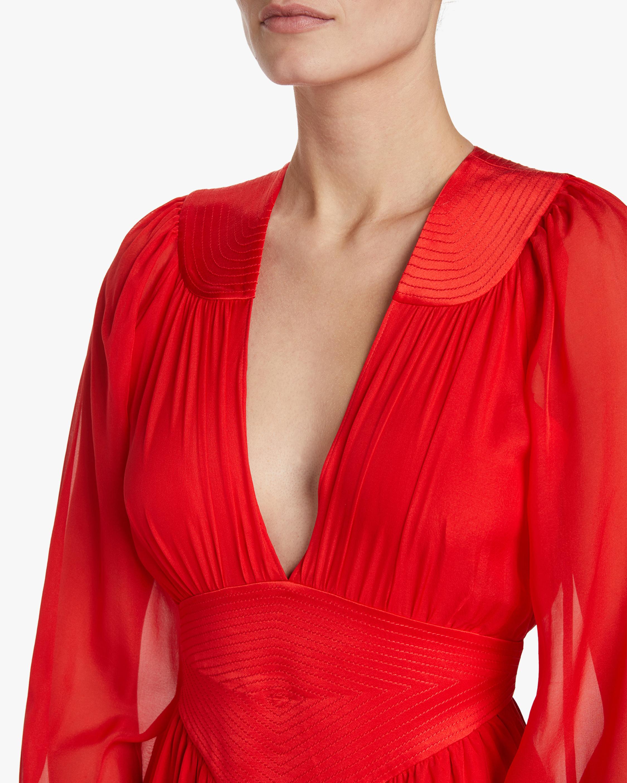 Divine Heritage V-Neck Pleated Midi Dress 3