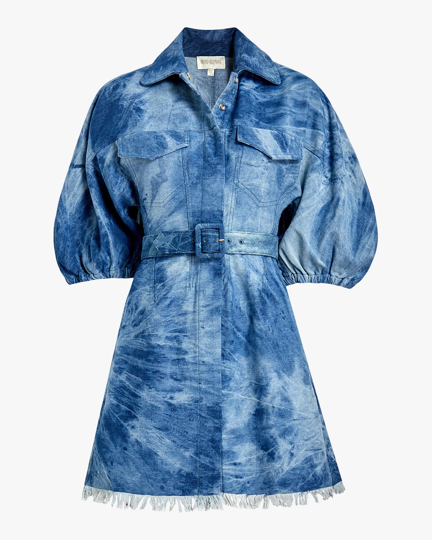 Divine Heritage Fringed-Hem Denim Shirt Dress 0