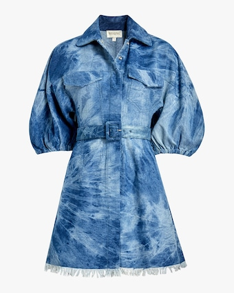 Fringed-Hem Denim Shirt Dress