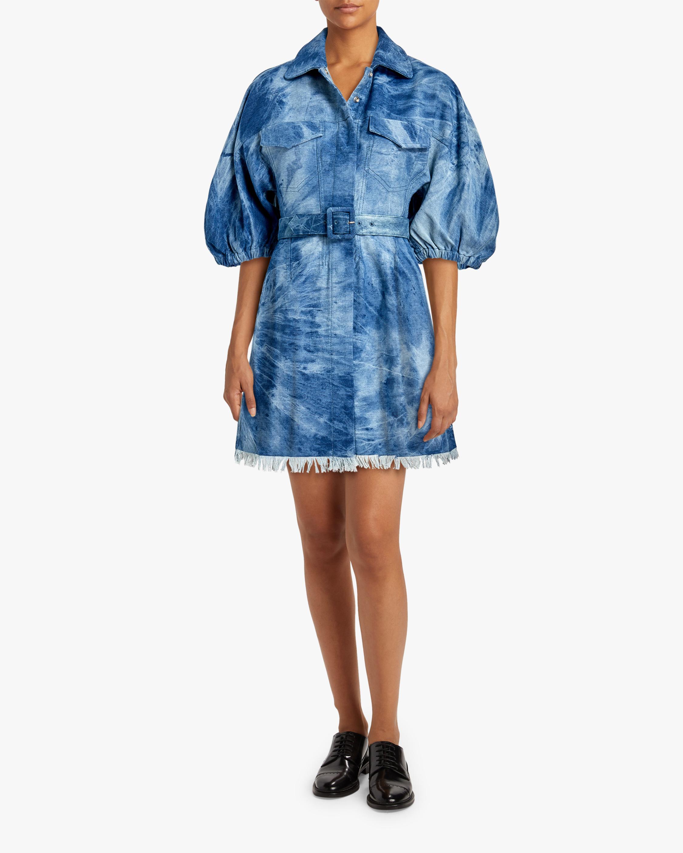 Divine Heritage Fringed-Hem Denim Shirt Dress 2