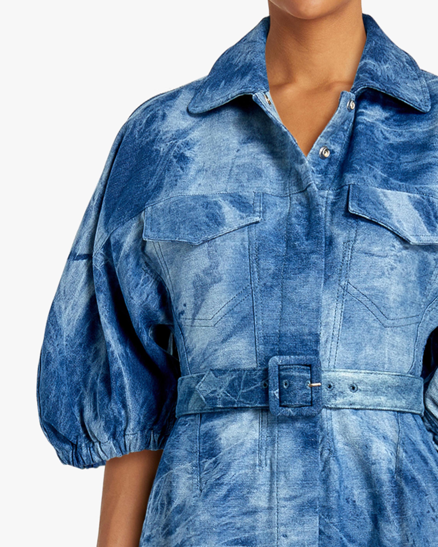 Divine Heritage Fringed-Hem Denim Shirt Dress 4
