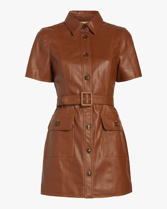Vegan Leather Belted Shirt Dress
