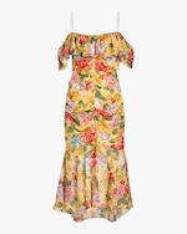 Divine Heritage Cold-Shoulder Ruched Midi Dress 0
