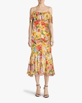 Divine Heritage Cold-Shoulder Ruched Midi Dress 2