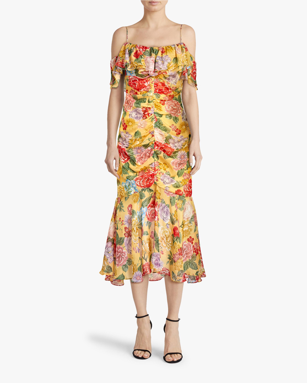Divine Heritage Cold-Shoulder Ruched Midi Dress 1