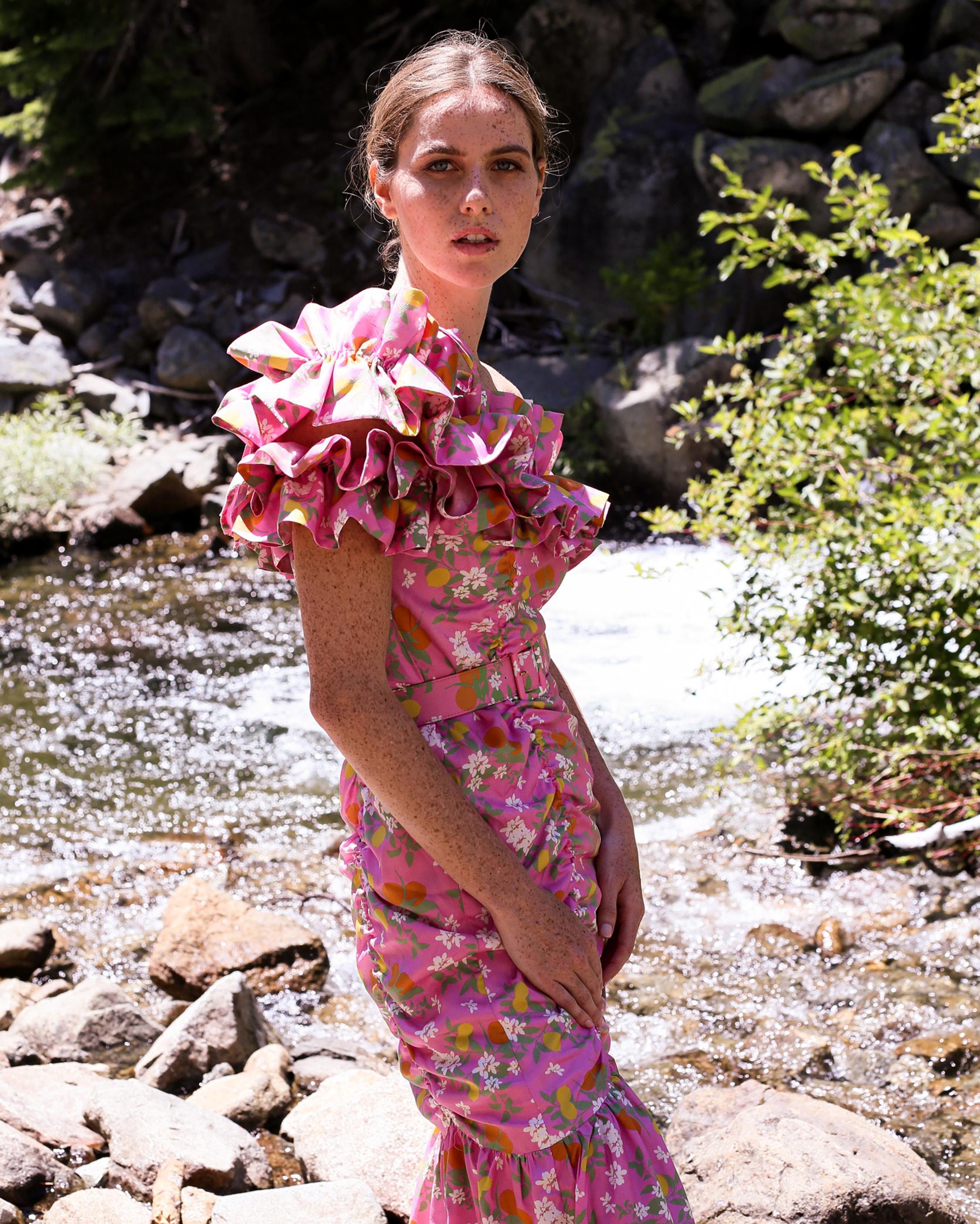 Catalina Double Ruffle Midi Dress