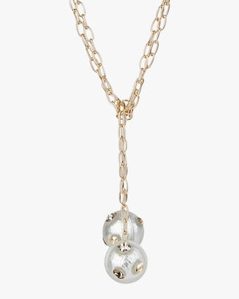 Crystal Studded Sphere Sautoir Necklace