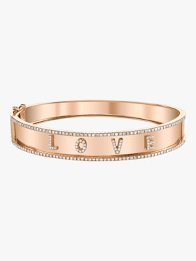 Love Nameplate Bangle With Diamond Trim