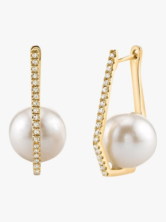 Geometric Caged Pearl And Diamond Drop Earrings