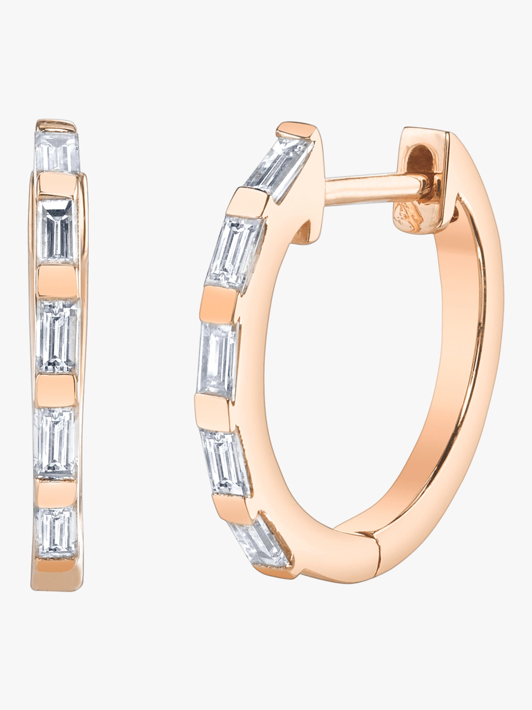 Mini Baguette Diamond Huggies Earrings
