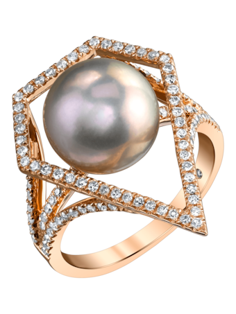 Geometric Caged Pearl & Diamond Ring