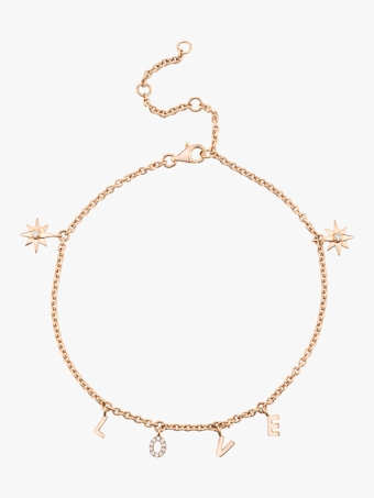 Love Anklet With Starburst Accents