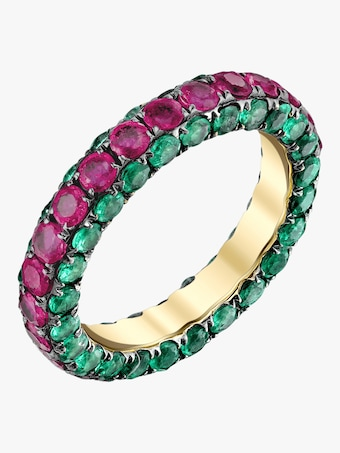3 Sided Ruby And Emerald Eternity Band