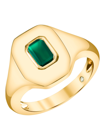 Emerald Baguette Essential Pinky Ring