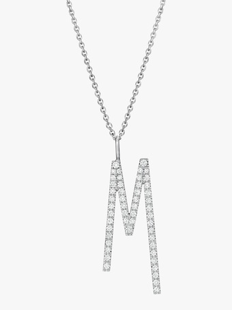 "Mimi So Type Letter Pavé ""M"" Pendant 1"