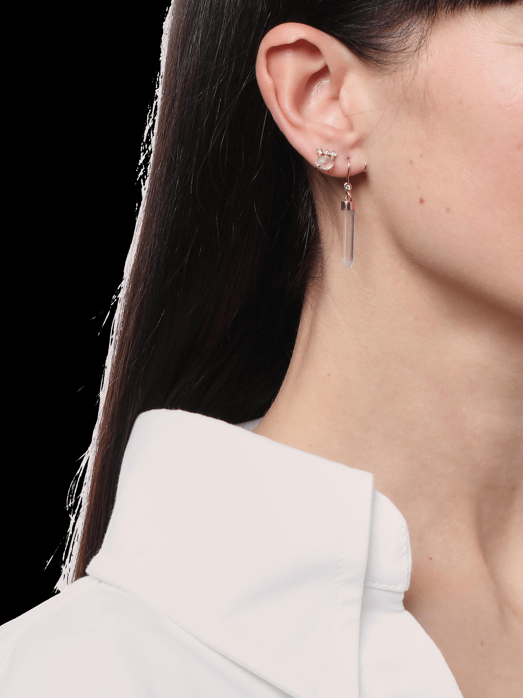 Diamond Aquamarine Bar Earring