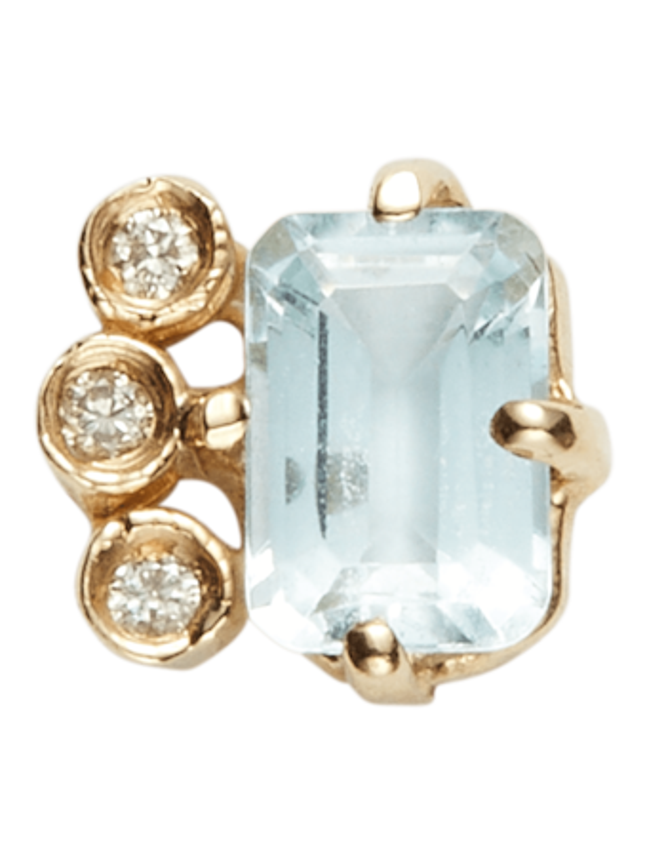 Diamond Aquamarine Baguette Stud