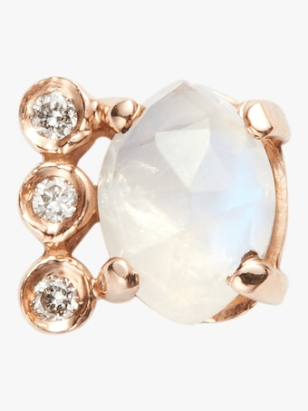 Diamond Moonstone Marquise Stud