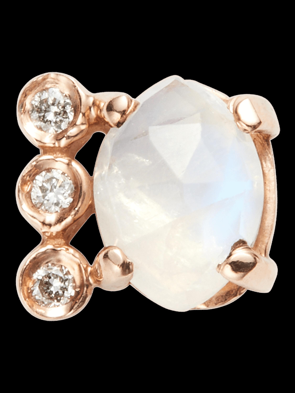 Diamond Moonstone Marquise Stud
