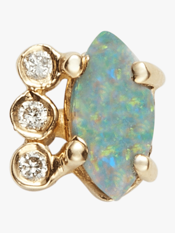 Diamond Opal Marquise Stud
