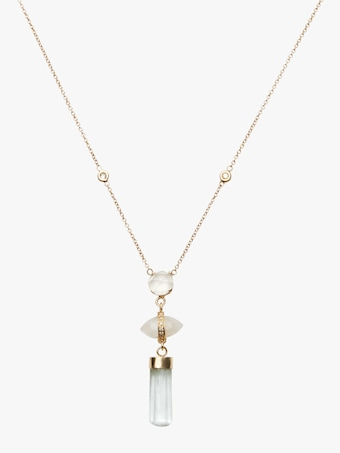 Moonstone And Aquamarine Bar Triple Step Necklace