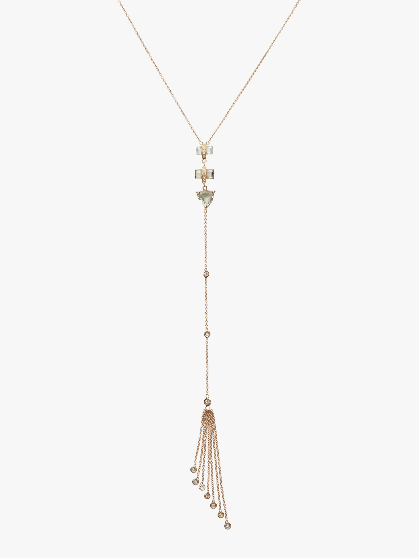 Green Tourmaline Baguette Tassel Necklace
