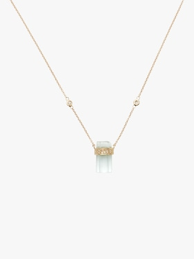 Pavé Diamond And Aquamarine Crystal Bar Necklace