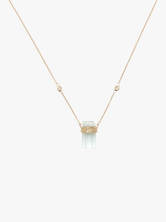 Jacquie Aiche Pavé Diamond And Aquamarine Crystal Bar Necklace 1