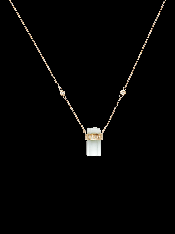 Pavé Diamond And Aquamarine Crystal Bar Necklace