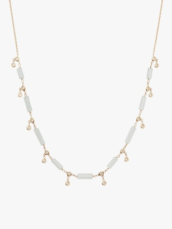 Aquamarine Bar Diamond Shaker Necklace