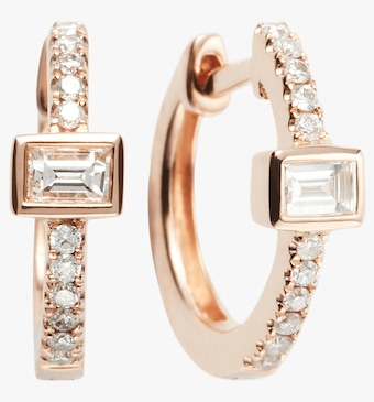 Diamond Baguette Mini Huggie Hoop