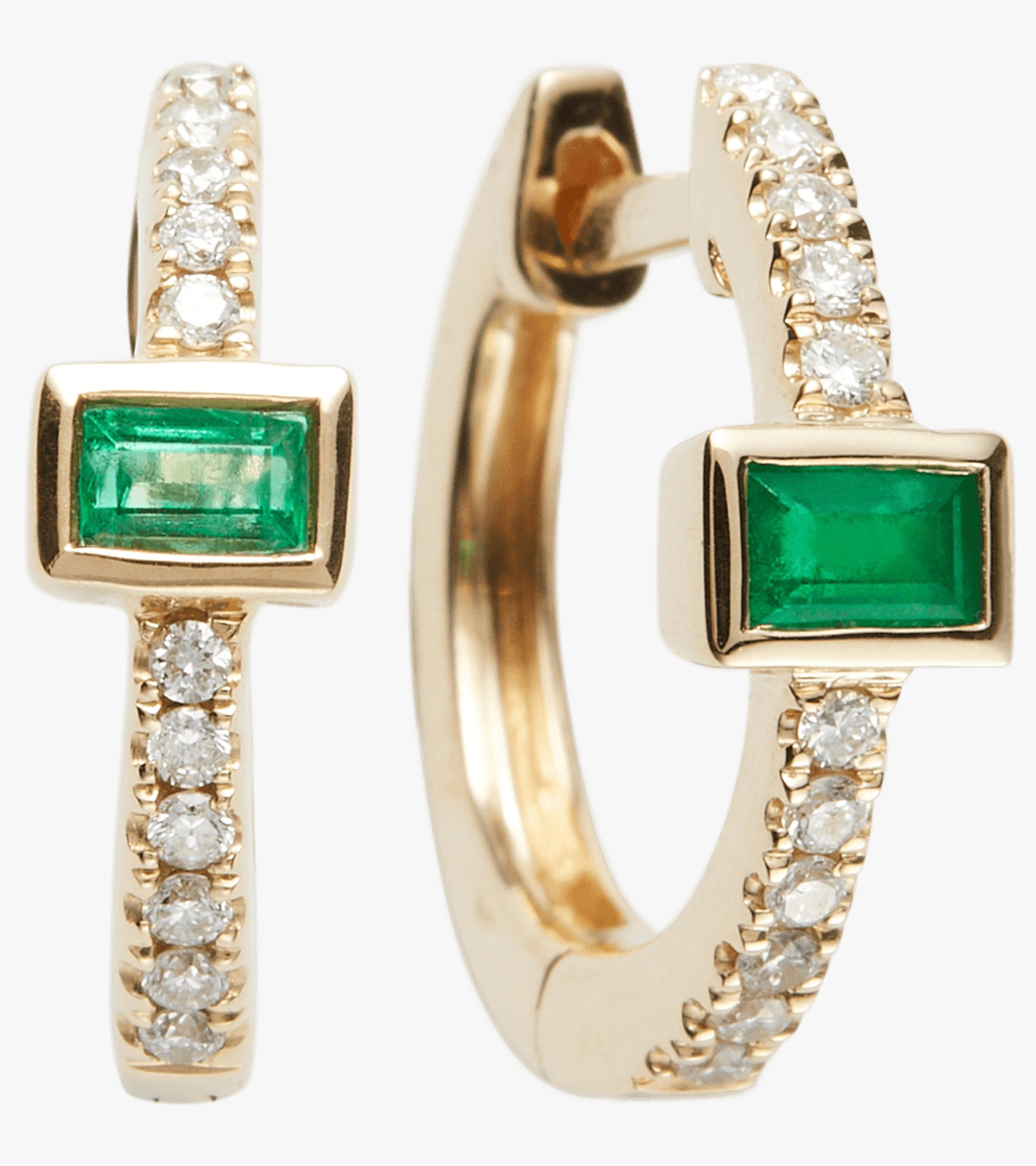 Emerald Baguette Mini HUggie Hoop