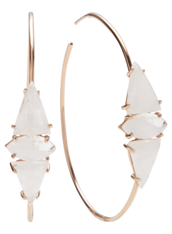 Moonstone Triangle And Marquise Hoops