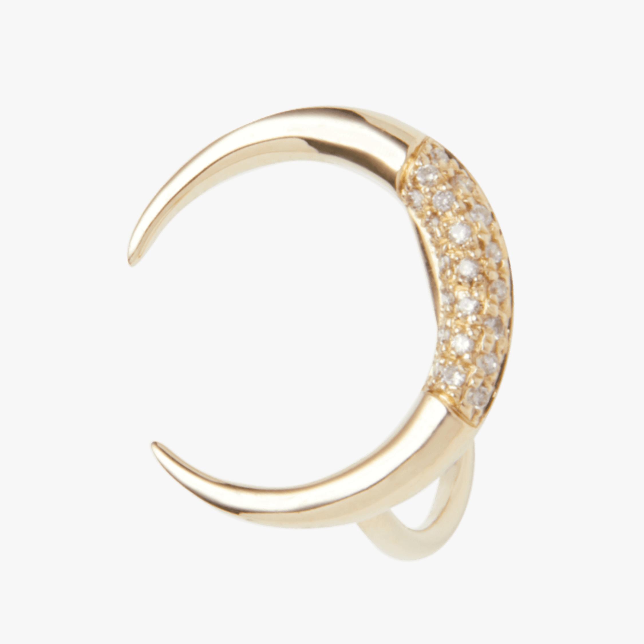 Partial Pavé Crescent Horn Ring